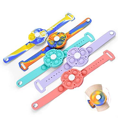 Aoemie 5 Pcs Stress Relief Rotating Wristband Sensory Fidget Bracelet Toys Wearable Silicone Spinner...