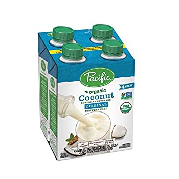 Pacific Foods Organic Coconut Non-Dairy Beverage Unsweetened Original Keto Friendly 8 oz  Pack of 4