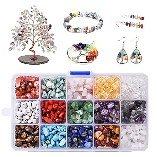 Edelsteine mit Loch -15 Farben Edelsteinperlen Naturform Heilsteine mit Bohrung zum Basteln, für Auffädeln DIY Armbänder Halskette Schmuck etc