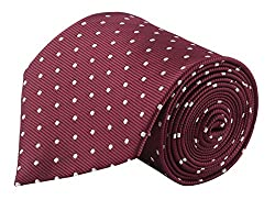 Modo Formal Ties For Men, Geometric Maroon Tie
