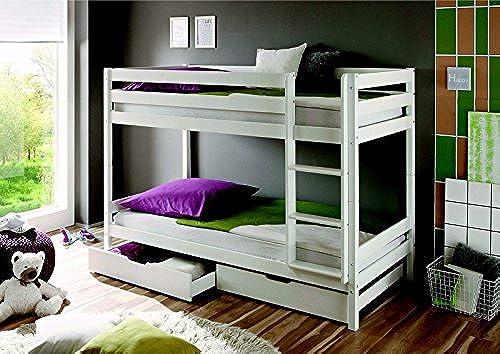 Etagenbett Kevin Kiefer massiv Farbe  Weiß 90x200cm mit Bettkasten und Rollrosten