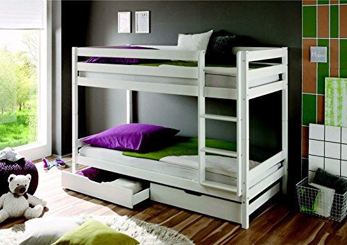 Lits superposés Kevin en pin massif Blanc 90 x 200 cm Avec tiroir de lit et sommier déroulant