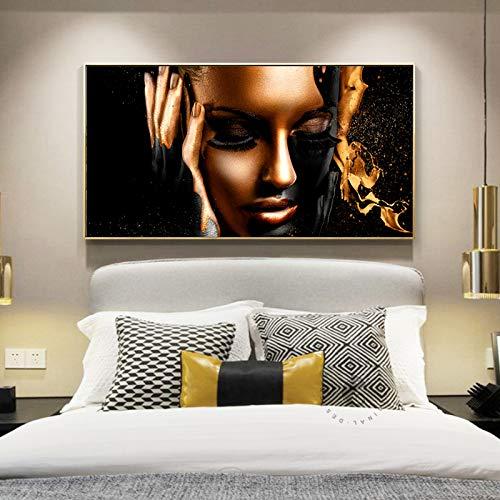 Flduod afrika zwarte vrouwen canvas schilderij muur foto voor woonkamer posters en prints gouden kleur figuur art cuadros decoration40x80cm