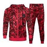 LBL Survêtement Homme Ensemble Camouflage Décontracté Causal Sweat-Shirt à Capuche Pantalon de Jogging Sportif Rouge L