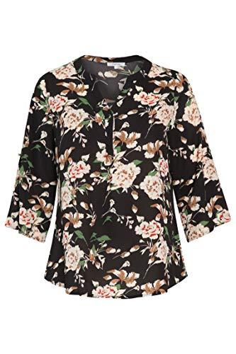 PAPRIKA Damen große Größen Bluse mit Blumendruck V-Ausschnitt 3/4 Ärmel