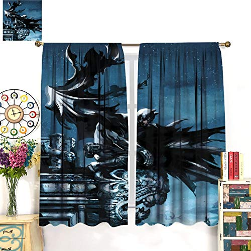 Petpany Cortinas de microfibra de Batman The Dark Knight Gotham Movie de 140 x 160 cm, hermosa decoración de habitación y ajustes convenientes para estar, comedor, dormitorio