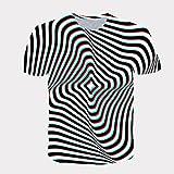 Qier Camisetas Hombre Camiseta Holgada Informal De Manga Corta con Gráfico 3D, Rayas Negras, Negro, XL