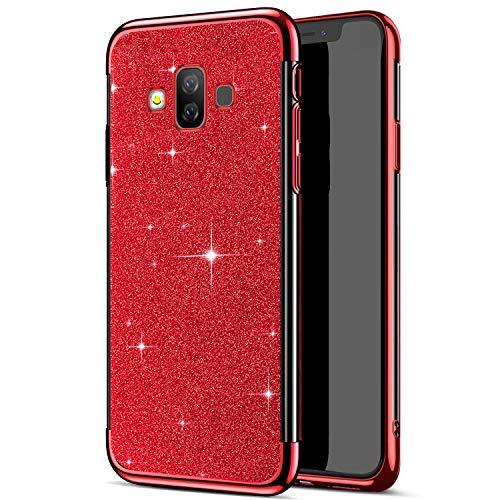 Funda Compatible con Samsung Galaxy J7 Duo,Carcasa Case Transparente Glitter Brillante Brillo Chapado 2 en 1 TPU Silicona Ligero Ultrafino Cuerpo Completo Cubierta Protectora Anti-Shock Bumper,Rojo