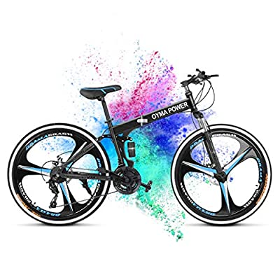 Mountain Bike Folding 26 Inch Wheels Mens MTB Bike 21 Speed Training Bicycle Adult Full Suspension Dual Disc Brakes Outdoor Road Bikes for Men Women Cruiser Hybrid Bike with Padded Seat Non-Slip