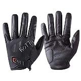 ROTTO Guantes Ciclismo Guantes MTB Medio Dedo para Mujer Hombre con Gel y SBR Acolchado (Gris-Negro(Completo Dedo), L)