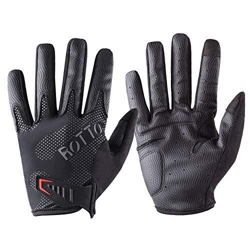ROTTO Fahrradhandschuhe MTB Handschuhe Halbfinger Vollfinger für Herren Damen mit Gel und SBR-Polsterung (Schwarz-Grau(Vollfinger), XL)