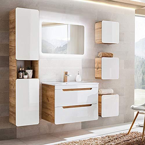 Lomadox Badmöbel Set, Hochglanz weiß mit Wotaneiche, 80cm Waschtisch-Unterschrank mit Keramik-Waschbecken, 50cm LED-Spiegel, Hochschrank & 3 Hängeschränke