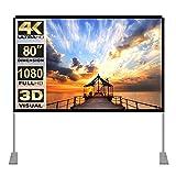 Pantalla de proyector con Soporte 80 Inch 16: 9 HD FáCil InstalacióN Y OperacióN Adecuado para Home Cinema Y Pantalla De ProyeccióN para Exteriores