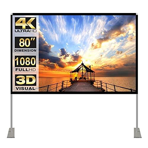 Projektion Leinwand mit Stand 80 Zoll HD 4K Outdoor Indoor Projector Screen Schnelles Falten Tragbare Filmleinwand 16: 9 Full-Set-Tasche für Heimkino, Camping und Freizeitveranstaltungen…