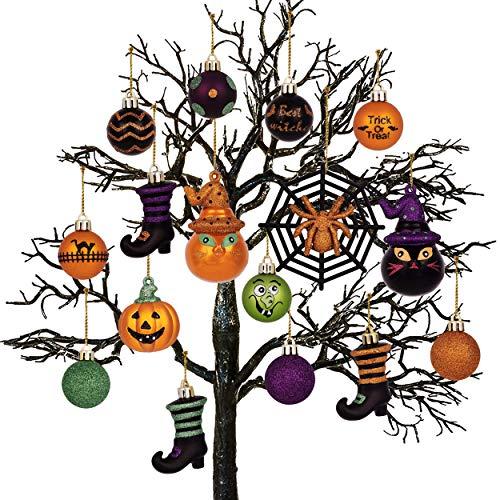 Kücheks 24 Pezzi di Ornamenti di Palline di Halloween, Pendenti di Palle di Albero appesi di Halloween infrangibili Decorativi impertinenti
