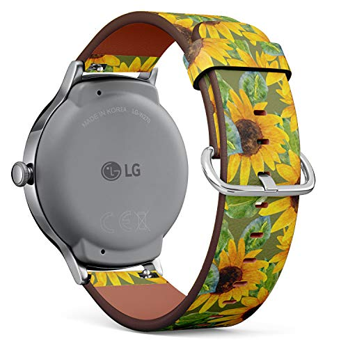 Compatible with [ LG Watch Style ] - 18mm Quick-Release Leather Band Bracelet Strap Wristband Replacement - Sunflower