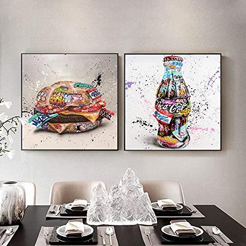 PGMZQHGF Pop Graffiti Art Burger and Coke Bottle Impresiones en Lienzo Arte de la Pared Pintura Cocina Restaurante Decoración Carteles Decoración para el hogar   50x50cmx2 Sin Marco
