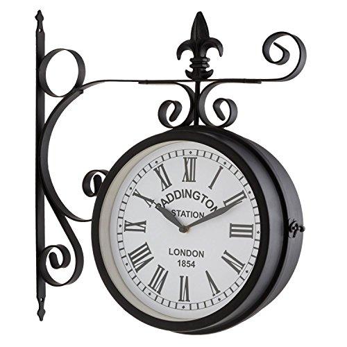 blumfeldt Paddington Uhr Retro-Wanduhr Bahnhofsuhr (doppelseitig, schmiedeeisernes Design, 41x45x11cm, römische Zahlen, Batterie-Betrieb, inklusive Wand-Montage-Set) schwarz