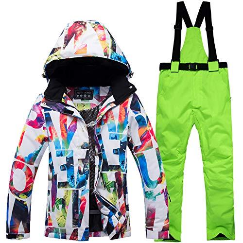 Vestes de Ski & Bavoir Globalement Habit de Neige Jeu pour Les Femmes Hommes, Imperméable Imprimé Ensemble Veste et Pantalon de Ski Snowboard Veste de Ski Bavoir Costume -G M