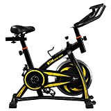 Indoor Cycling Exercise Bike, Yellow Spin Studio Cycles Machines with Adjustable Handlebars