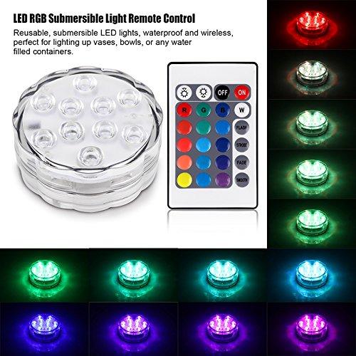 TiooDre Color¨¦ RGB 10 LED RGB Submersible Lampe Vase T¨¦l¨¦commande pour Contenants Piscine
