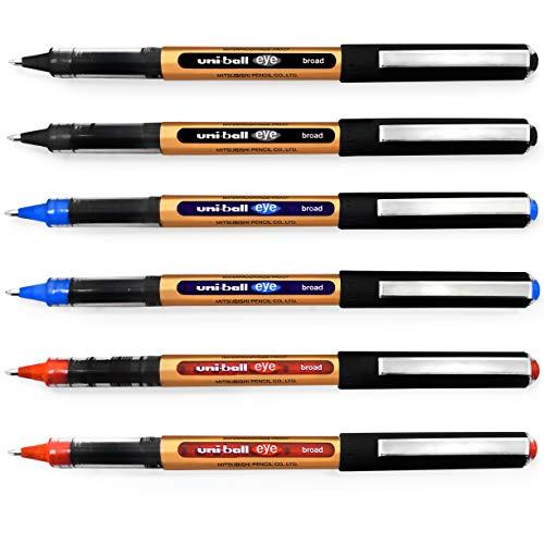 Uni-Ball Eye UB-150-10 - Penna a sfera a inchiostro liquido, 1 mm, confezione da 6, colore: nero, blu, rosso