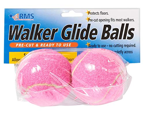 RMS Walker Glide Balls  A Set of 2 Balls with Precut Opening for Easy Installation Fit Most Walkers Pink
