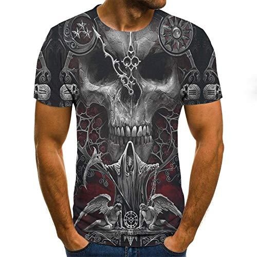 Manga Corta Nueva Camiseta con Estampado De Calavera De Verano, Divertida Camiseta para Hombre, Ropa Hip-Hop, Camiseta De Manga Corta, Ropa De Calle,