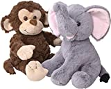 Elephant and Monkey Stuffed Animals - 2 Soft Plush Animal Toys for Baby, Toddler and Kids - Cute and Cuddly Friends for Boy or Girl - Great Gift for Easter, Christmas, Birthday - by Dragon Drew
