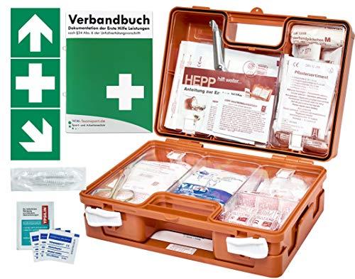 Erste Hilfe Kasten -Paket 1- DIN/EN 13157 für BÜRO & BETRIEBE + DIN/EN 13164 für KFZ - inkl. 1. Hilfe AUFKLEBER & Verbandbuch (Perforierte Seiten)