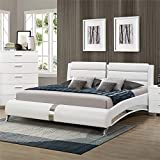 BOWERY HILL Faux Leather California King Platform Bed in White