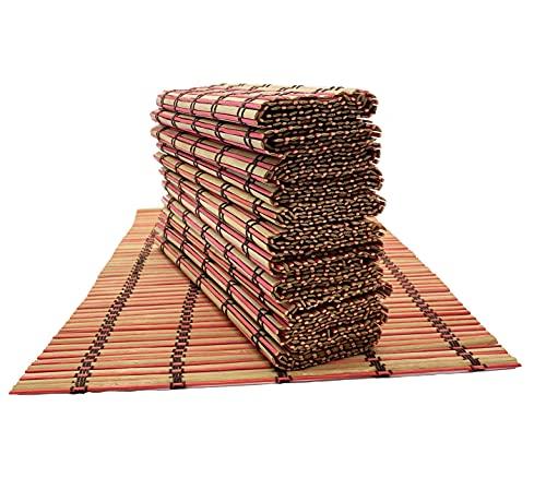 Lote manteles de Bambú (6 Unidades), 45 x 30 cm, Natural Salvamanteles Antideslizantes Antimanchas