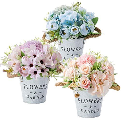 HOTLIKE Sztuczne kwiaty rośliny zestaw 3, sztuczne rośliny z metalowym doniczkiem, do wewnątrz i na zewnątrz mini sztuczna roślina doniczkowa, idealna dekoracja prezent do domu biura biurka kuchni na wesele (róża 2)