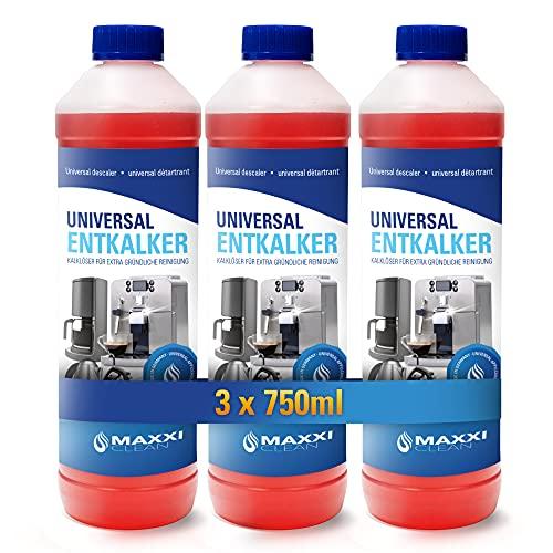 Maxxi Clean Red Power odkamieniacz, środek do usuwania wapnia, do czyszczenia ekspresów do kawy, żelazka i czajników, ze wskaźnikiem koloru, 3 x 250 ml, 750 ml