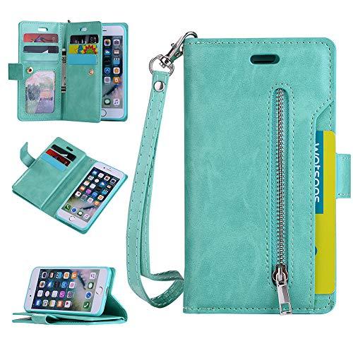 QC-EMART Covers per iPhone 6 iPhone 6S Flip Wallet Cover in Pelle Portafoglio Protettiva Custodia Antiurto con 9- Scheda Slot Guscio Impermeabile Antipolvere Protezione Bumper Cases, Verde