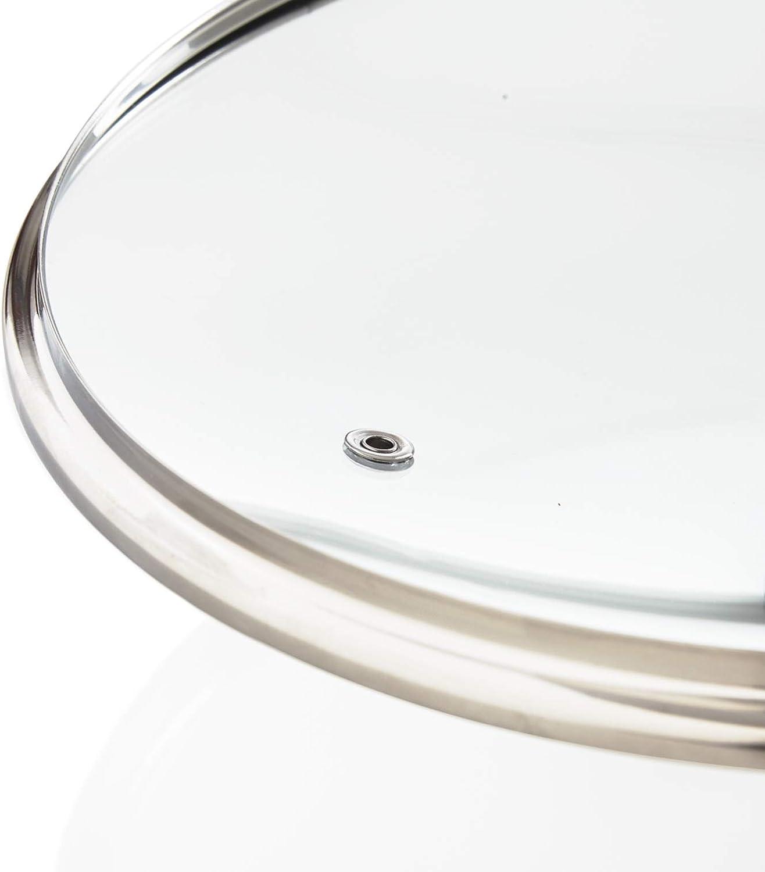 Kerafactum qualit/à temprato vetro foro vapore pentola coperchio vetro lavabile in lavastoviglie termoresistente coperchio universale per pentola trasparente 24 cm padella manico in acciaio inox