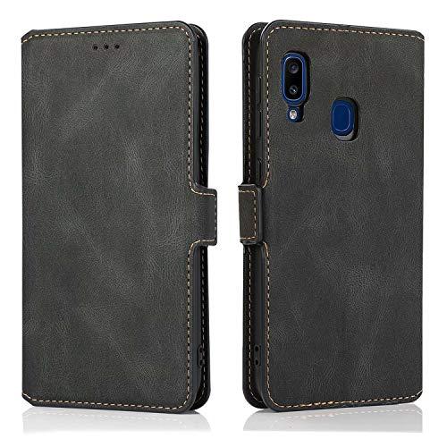 FullProtecter Handyhülle für Xiaomi Mi 10T lite 5G Hülle,Vintage Premium Leder Tasche Flip Schutzhülle Ledertasche Etui Lederhülle für Xiaomi Mi 10T lite 5G Handy Hüllen - Schwarz