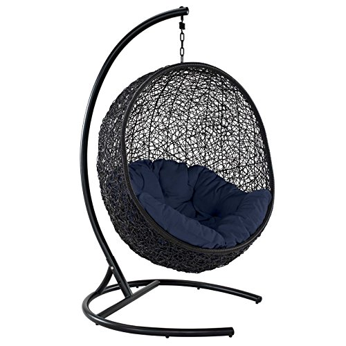 Modway EEI-739-NAV-SET Encase Wicker Rattan Outdoor Patio Porch Lounge Egg, Swing Chair with Stand,...