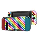 Dockable Case Compatible with Nintendo Switch Console and Joy-Con Controller, Patterned ( Shuffle of rainbow rectangles ) Protective Case Cover with Tempered Glass Screen