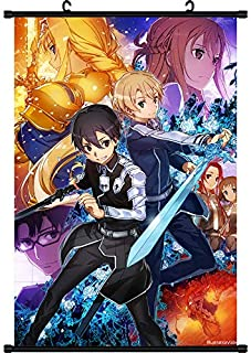 Mxdza New Japanese Sword Art Online Alicization Fabric Painting Anime Home Decor Wall Scroll Posters for Decorative 40x60CM