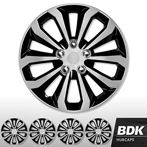 BDK (4 Pack of Premium 16' inch Hubcap Wheel Cover Replacements for OEM Steel Wheels, High Grade ABS with Retention Ring