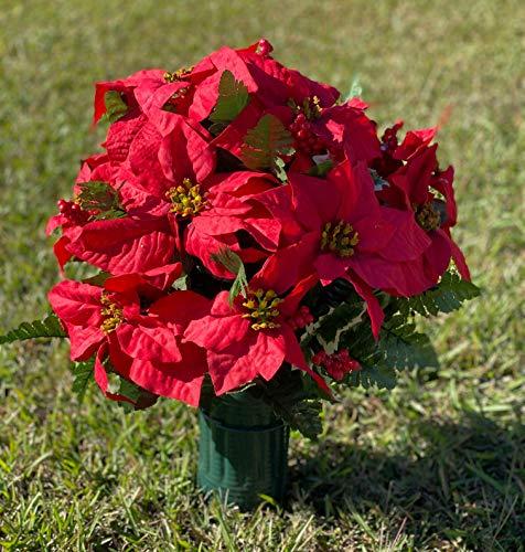 Deluxe Red Poinsettia Cemetery Vase Arrangement