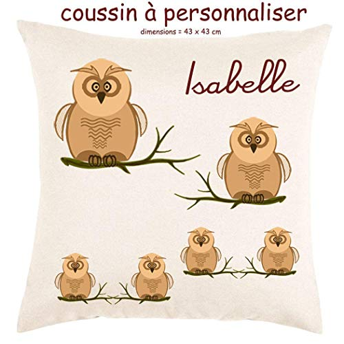 Coussin avec sa Housse Toucher très Doux Chouette Personnalisable avec un Prénom Exemple Isabelle