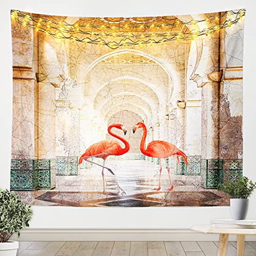 Tropical Flamingo Wall Blanket Animal Tapestry for Kids Boys Girls Teens Lovers Retro Decorative Wall Hanging Bedding Throw Blanket Medium 51x59