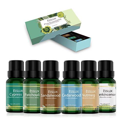 Aromatherapie Ätherische Öle Set, ESSLUX Holzige Düfte Ätherische Öle für Diffuser, 100% Pure Duftöle hochwertigster Qualität, Massageöle Geschenkset, Parfümöl in therapeutischer Qualität, 6x10 ML