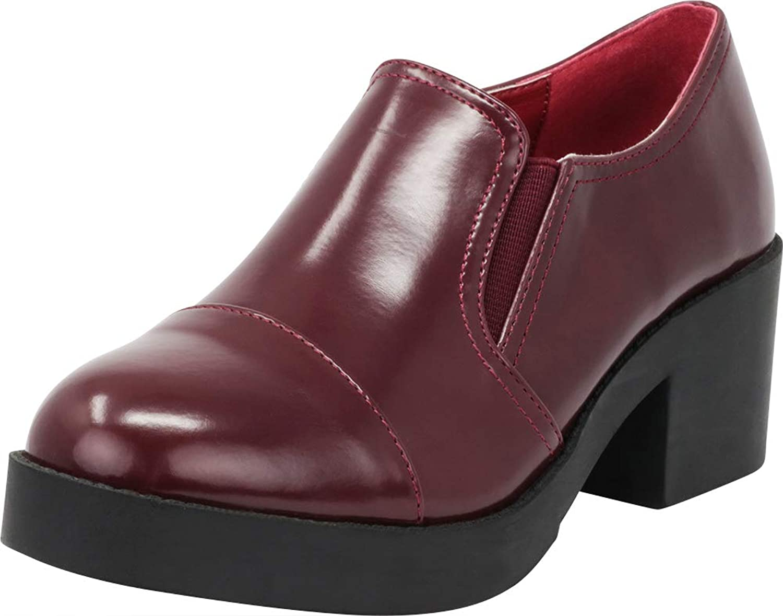 Cambridge Select Women's Round Cap Toe 90s Stretch Slip-On Chunky Platform Block Heel Loafer