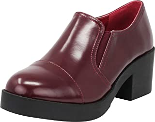 Women's 90s Stretch Slip-On Round Cap Toe Chunky Platform Block Heel Loafer