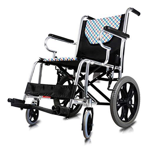 PLLP Rollstuhl-Faltender Heller Tragbarer Rollstuhl, Rollstuhl Alter Wagen-Alter Mann-Ultra Heller Freier Aufblasbarer Kleiner Rad-Tragbarer Reiserollstuhl