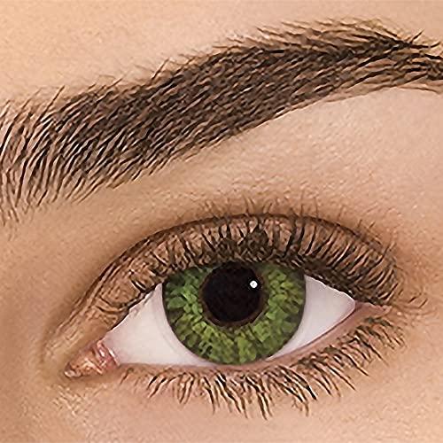 Sehr stark deckende natürliche Kontaktlinsen farbig,farbige Monatslinsen aus Silikon Hydrogel(HEMA),Weiche Kontaktlinsen mit großen Augenfarben Vergrößern Sie,2 Stück,DIA14,ohne Stärke,Edelsteingrün