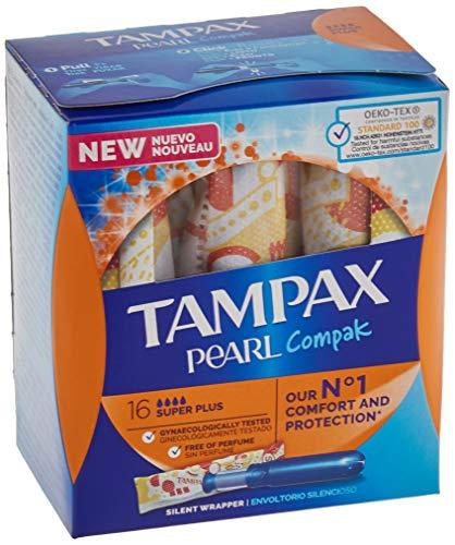 Tampax PEARL compak Super Plus Stempelkissen mit Applikator, bietet Komfort, Schutz und Diskretion, 128 Stück